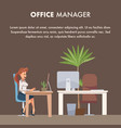businesswoman or office clerk working by computer vector image