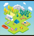 camping isometric concept vector image vector image