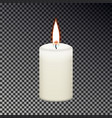 candle flame fire isolated on checkered background vector image vector image