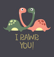 card with cute dino vector image vector image
