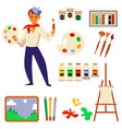 cartoon artist and his drawing tools set isolated vector image
