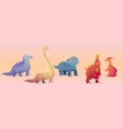 cartoon dinosaurs fossil animals vector image