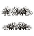 cartoon silhouette black tree line set vector image