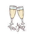 champagne glasses new year greeting card vector image