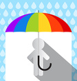 Colorful Umbrella in Rain with Paper Man vector image vector image