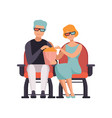 couple watching movie in cinema theater in 3d vector image vector image