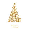 creative xmas tree made by shiny golden balls on vector image