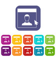 cursor point man on monitor icons set vector image vector image