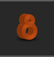 eight logo 3d number 8 isometric shape orange vector image