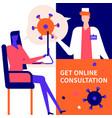 get online consultation - flat design style vector image