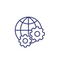 globe and gears icon line art vector image