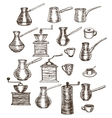hand drawn set of coffee utensils vector image vector image