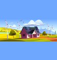 house with solar panels on roand wind turbines vector image