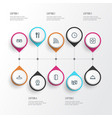 information icons line style set with tray map vector image vector image