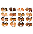 international human faces set vector image