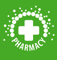 logo with pills on a green background vector image vector image