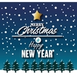 merry christmas new year snowfall and pine graphic vector image vector image