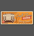 retro beer wooden barrel craft beer festival vector image