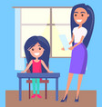 schoolgirl sitting near window pretty teacher vector image vector image