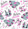 seamless pattern with faces squirrel vector image vector image