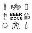 set beer line icons alcohol drink pint vector image
