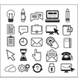 set black icons on white background vector image vector image
