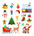 set christmas decoration vector image