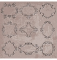 set decorative frames on grungy background vector image vector image
