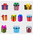 set of colourful gift boxes isolated on vector image