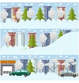 set of winter cityscape concept design vector image vector image