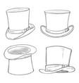 set sketch cylinder hats vector image vector image