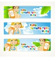 Sunny summer banner with young people vector image vector image