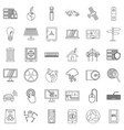 technology icons set outline style vector image vector image