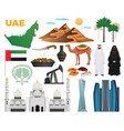 uae travel icons set vector image vector image