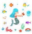 uder the sea cute little mermaid swimming fishes vector image