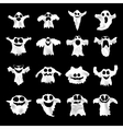 Set of halloween white ghosts with different vector image