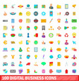 100 digital business icons set cartoon style vector image vector image