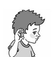 a kid demonstrating his sense of vector image