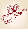 angel flies and plays trumpet religious vector image vector image