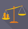 Balance scale with coin vector image