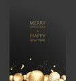 banner with christmas gold balls and space vector image