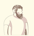 bearded man in white t-shirt vector image vector image