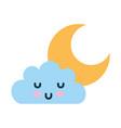 beautiful fantasy cloud with moon kawaii character vector image vector image