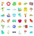 big vacation icons set cartoon style vector image vector image