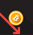 bitcoin rate drop concept vector image vector image