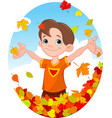 boy and leaves vector image