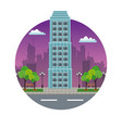 building city downtown night view stamp vector image