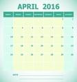 Calendar April 2016 week starts Sunday vector image vector image