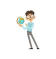 cartoon character of nerd boy with world globe in vector image