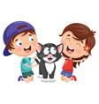 cartoon kids with cat vector image vector image